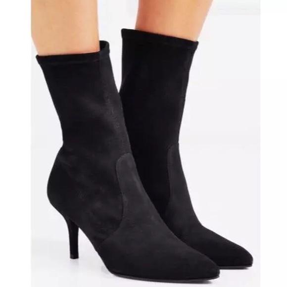 $575 Stuart Weitzman Cling Black Suede Boots 7.5M